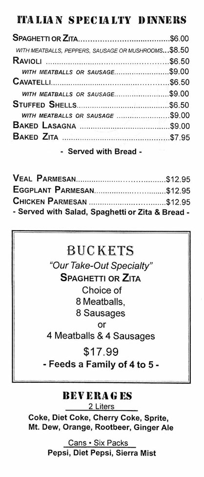 Clifton Park Pizza Menu Page 4