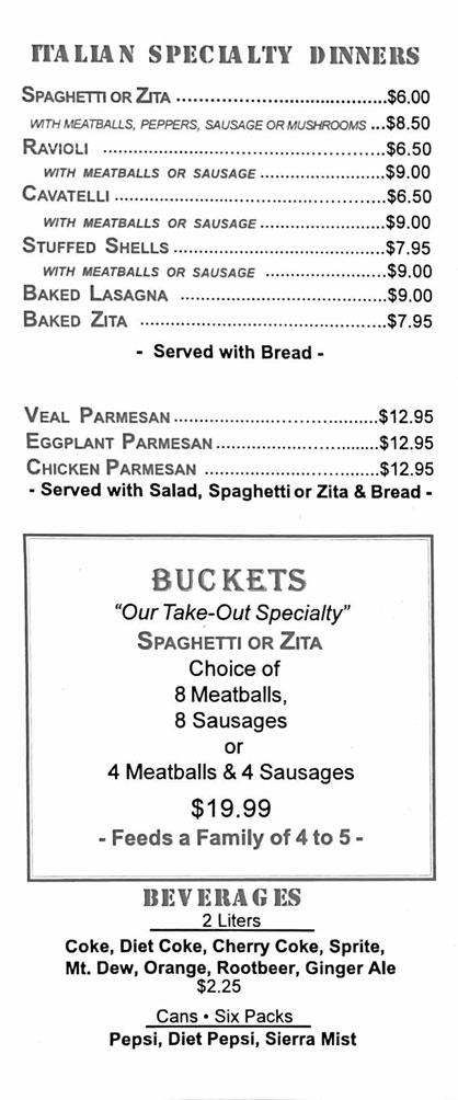 Clifton Park Pizza Menu Page 4